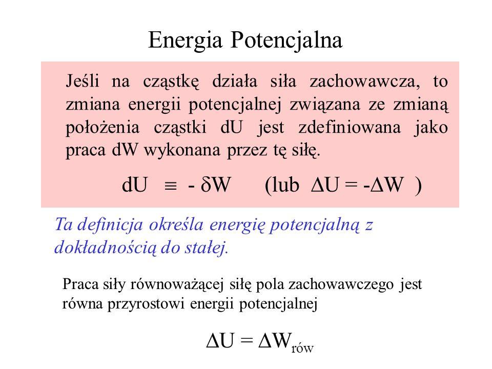 Energia Potencjalna dU  - dW (lub U = -W ) U = Wrów