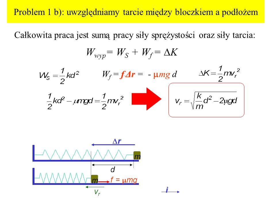 Problem 1 b): uwzględniamy tarcie między bloczkiem a podłożem