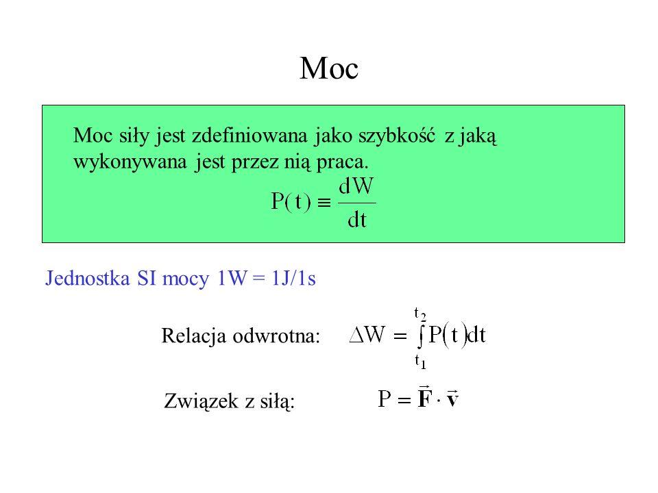 MocMoc siły jest zdefiniowana jako szybkość z jaką wykonywana jest przez nią praca. Jednostka SI mocy 1W = 1J/1s.