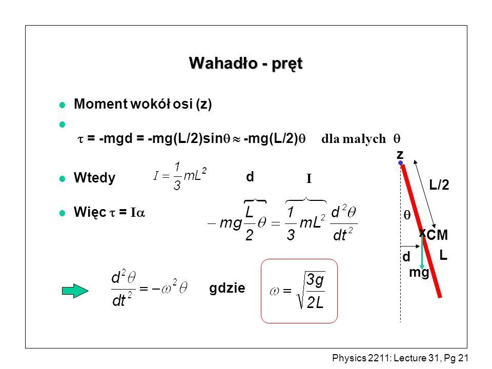 Wahadło - pręt Moment wokół osi (z)