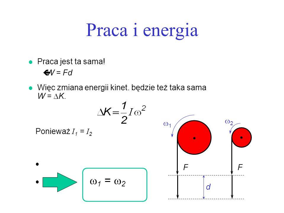 Praca i energia Praca jest ta sama! W = Fd