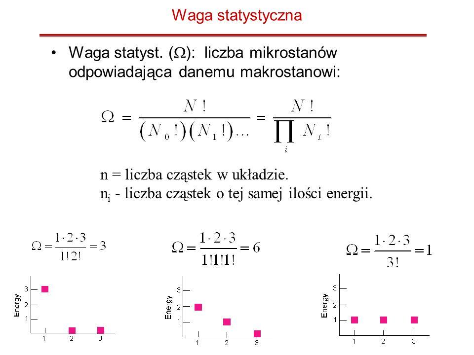 Waga statystyczna Waga statyst. (W): liczba mikrostanów odpowiadająca danemu makrostanowi: n = liczba cząstek w układzie.