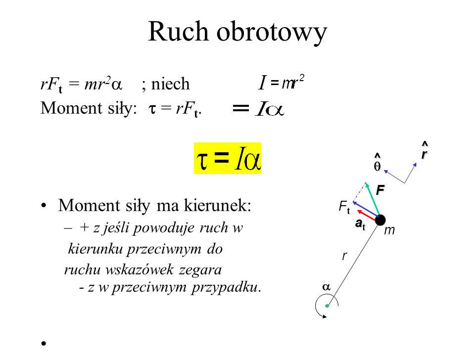 Ruch obrotowy rFt = mr2 ; niech Moment siły:  = rFt.