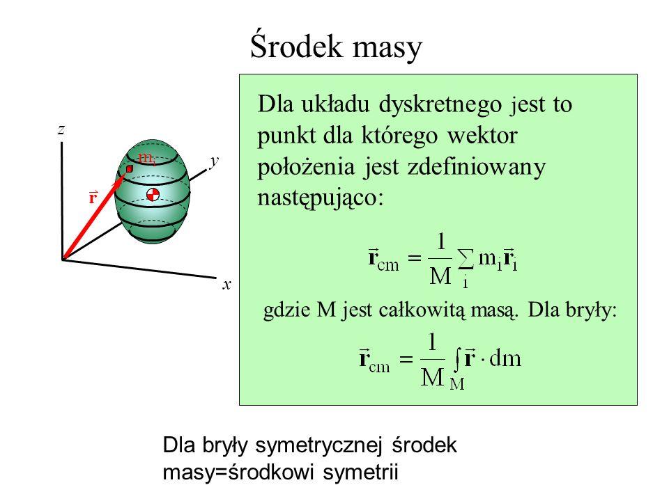 Środek masy Dla układu dyskretnego jest to punkt dla którego wektor położenia jest zdefiniowany następująco: