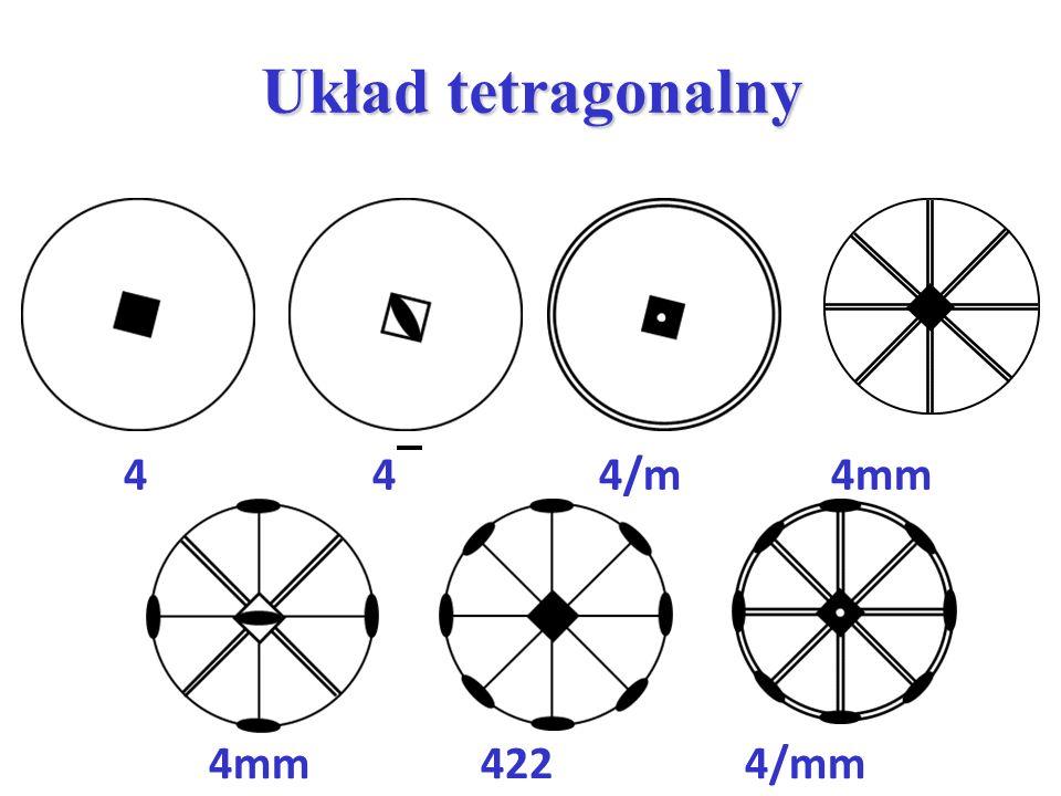 Układ tetragonalny 4 4 4/m 4mm.