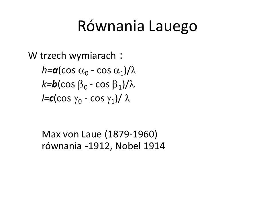 Równania Lauego W trzech wymiarach : h=a(cos a0 - cos a1)/l
