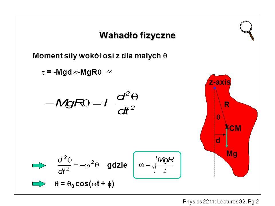 Wahadło fizyczne Moment sily wokół osi z dla małych   = -Mgd -MgR