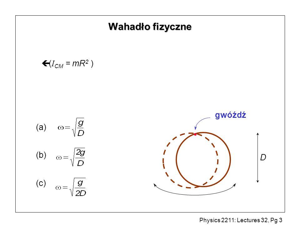 Wahadło fizyczne (ICM = mR2 ) gwóźdź (a) (b) (c) D