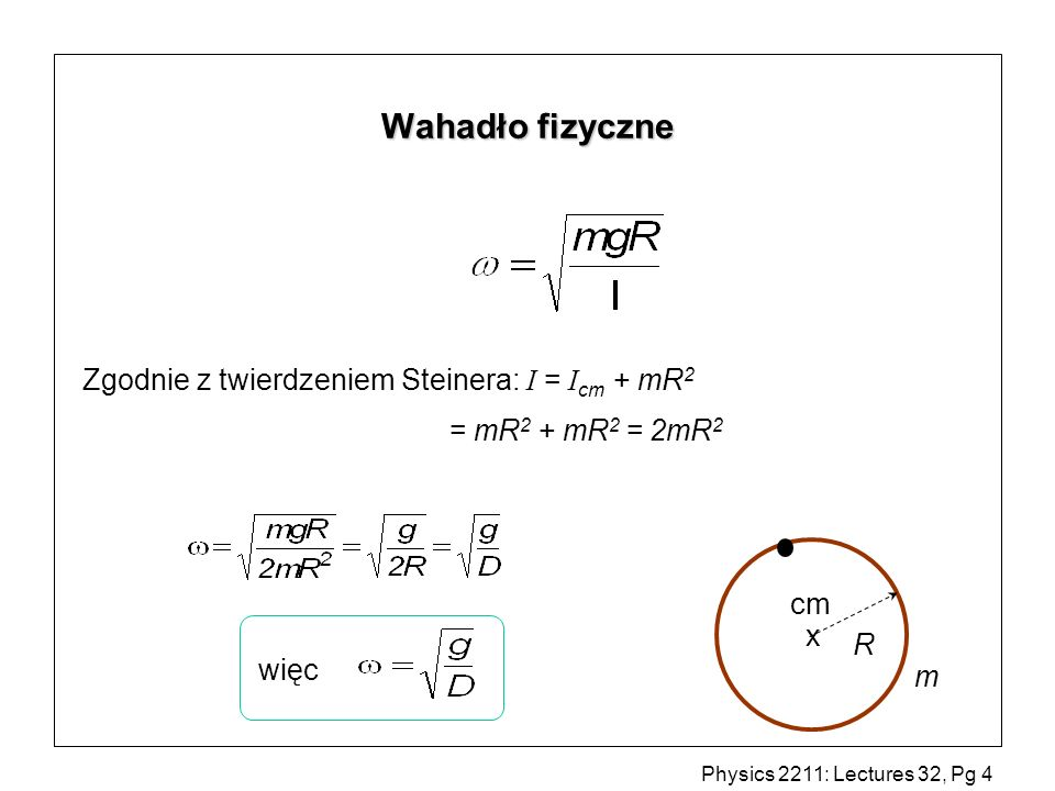 Wahadło fizyczne Zgodnie z twierdzeniem Steinera: I = Icm + mR2