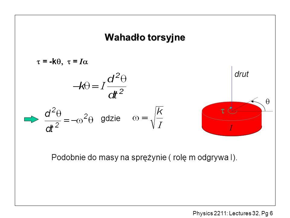 Wahadło torsyjne   = -k  = I drut  gdzie I