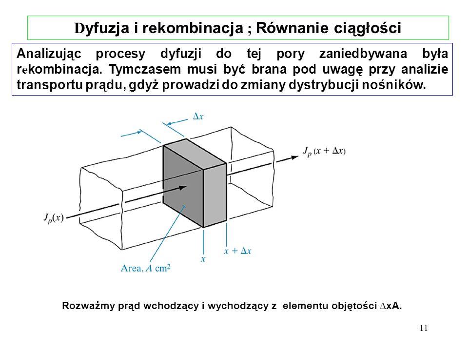 Dyfuzja i rekombinacja ; Równanie ciągłości