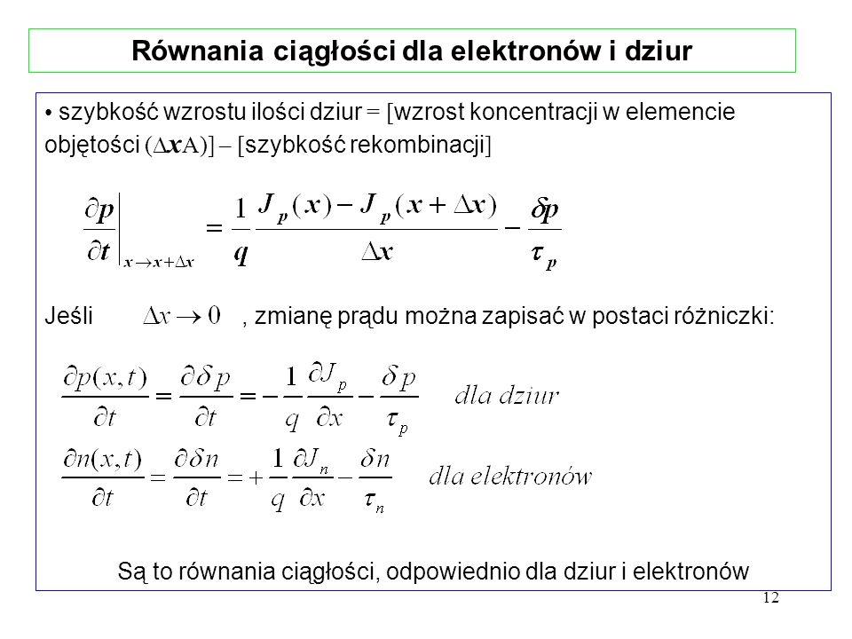 Równania ciągłości dla elektronów i dziur