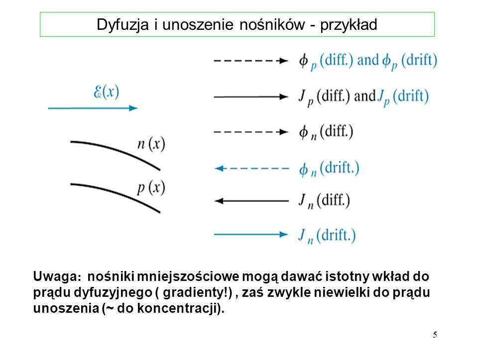 Dyfuzja i unoszenie nośników - przykład