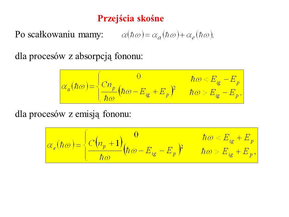 Przejścia skośne Po scałkowaniu mamy: dla procesów z absorpcją fononu: dla procesów z emisją fononu: