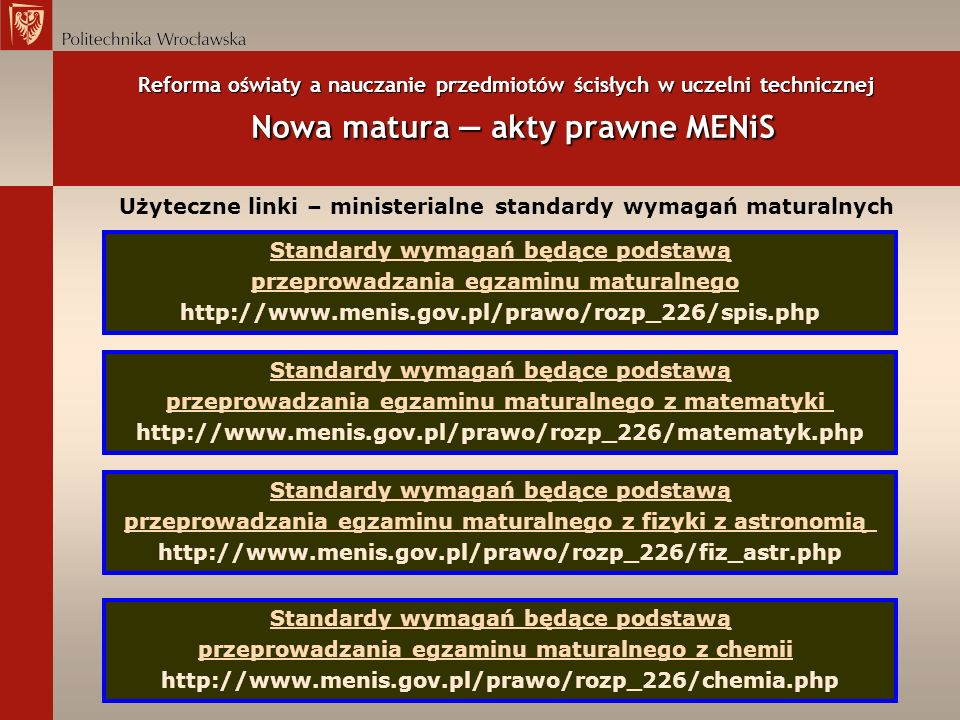 Użyteczne linki – ministerialne standardy wymagań maturalnych