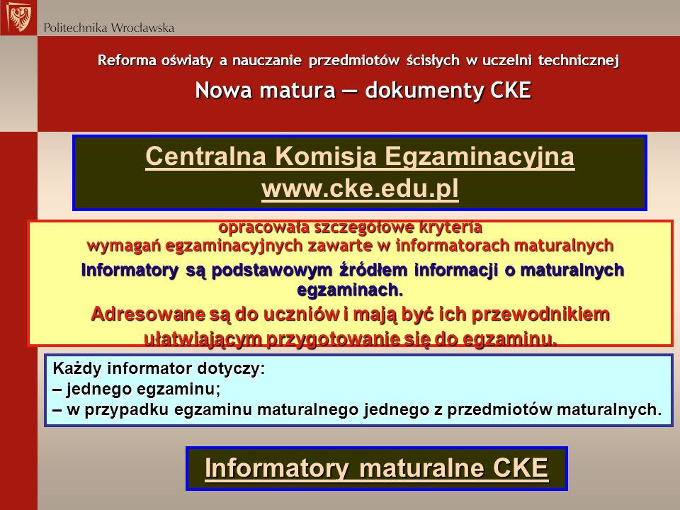 Centralna Komisja Egzaminacyjna www.cke.edu.pl
