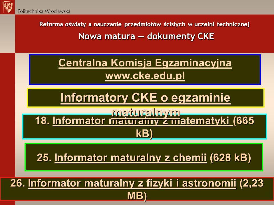 Informatory CKE o egzaminie maturalnym