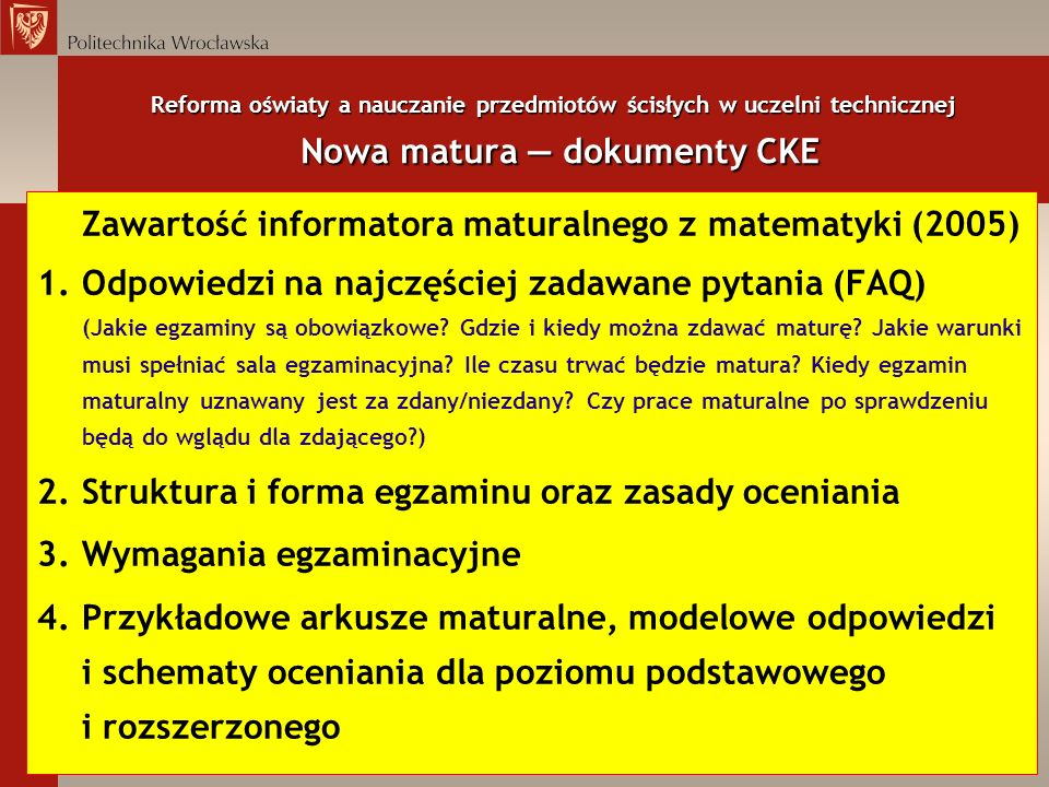 Zawartość informatora maturalnego z matematyki (2005)
