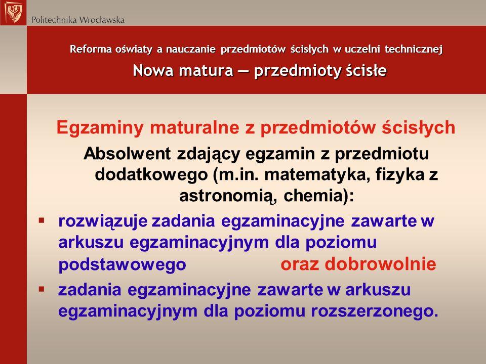 Egzaminy maturalne z przedmiotów ścisłych