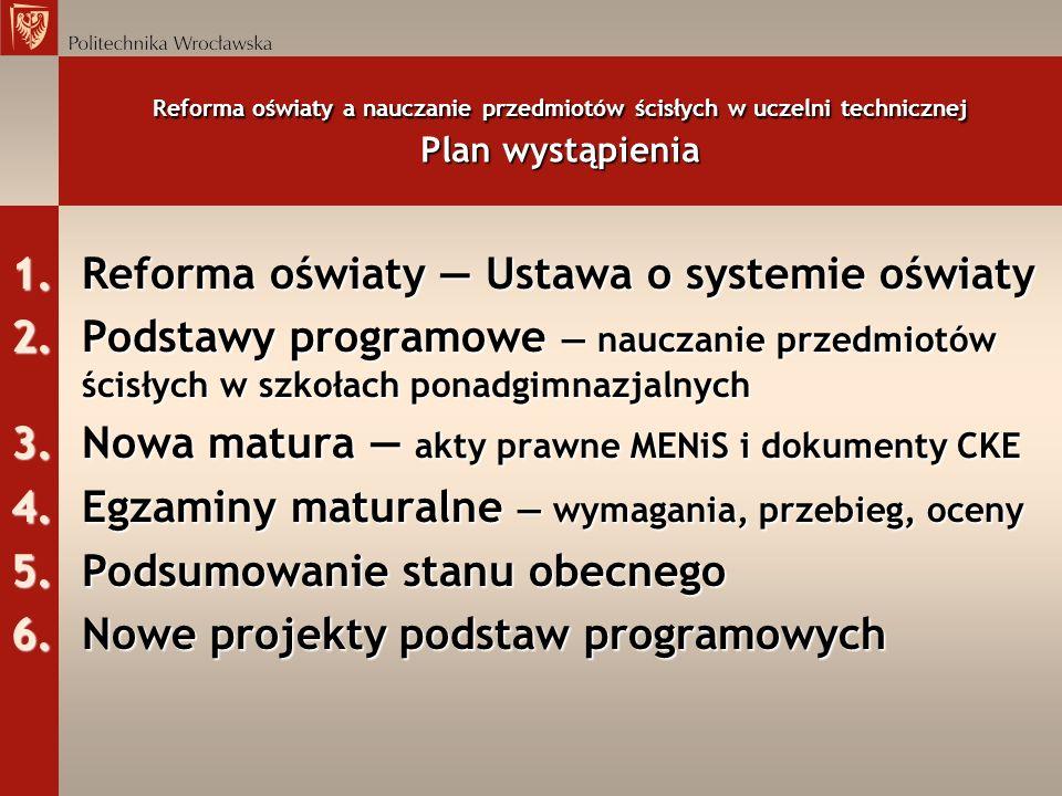 Reforma oświaty — Ustawa o systemie oświaty