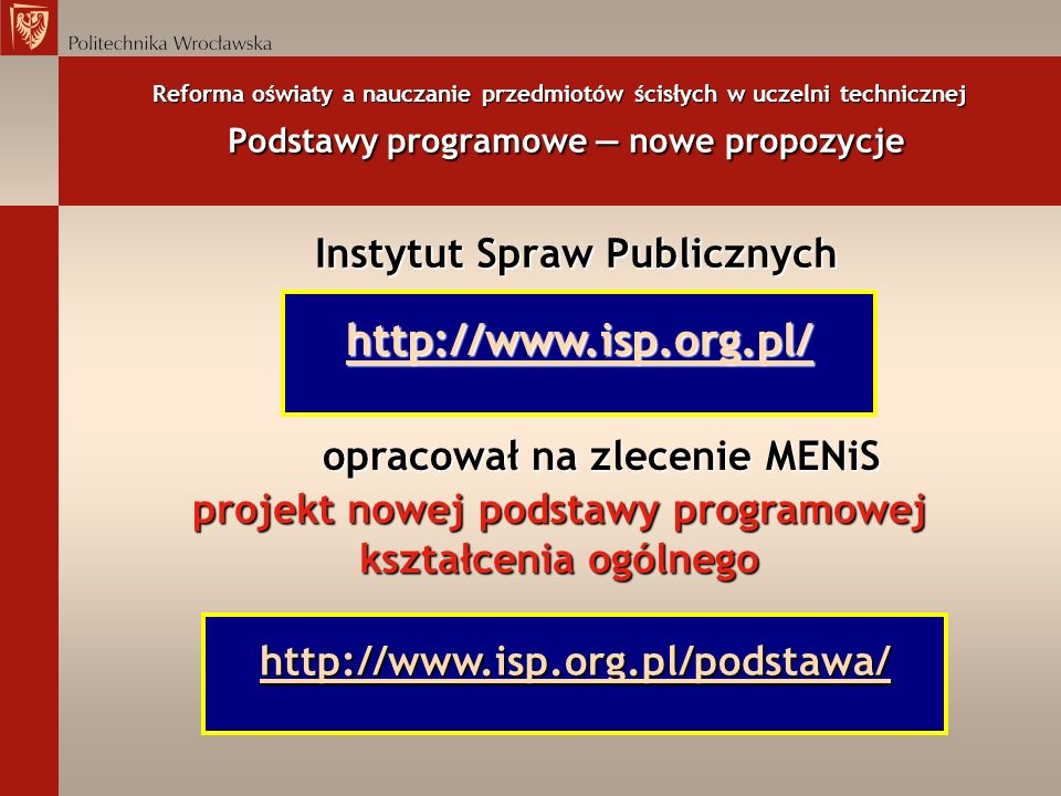 http://www.isp.org.pl/ Instytut Spraw Publicznych