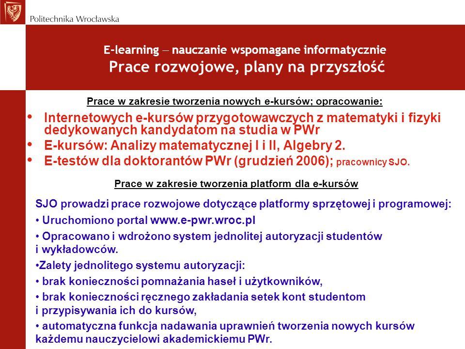 E-kursów: Analizy matematycznej I i II, Algebry 2.
