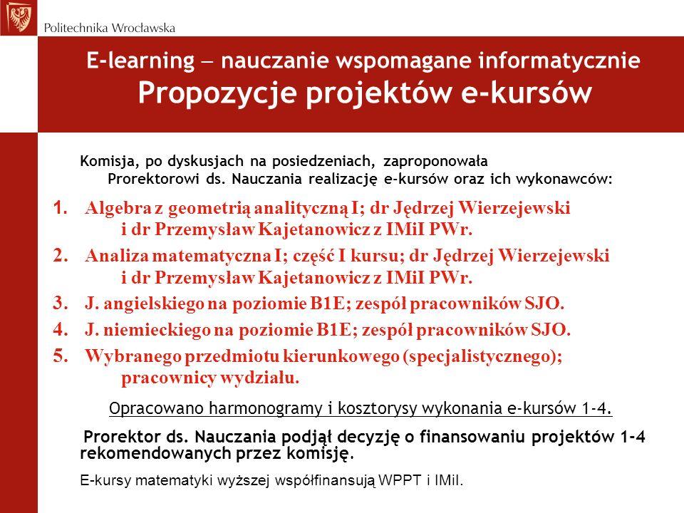 Prorektorowi ds. Nauczania realizację e-kursów oraz ich wykonawców:
