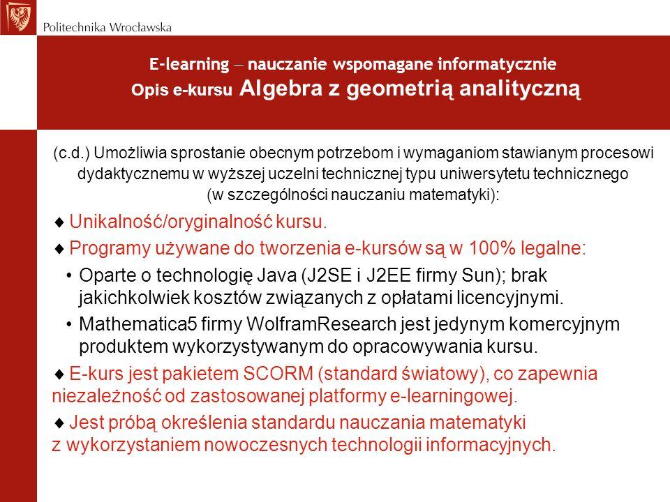 Unikalność/oryginalność kursu.