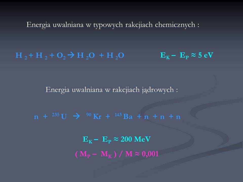 Energia uwalniana w typowych rakcjiach chemicznych :