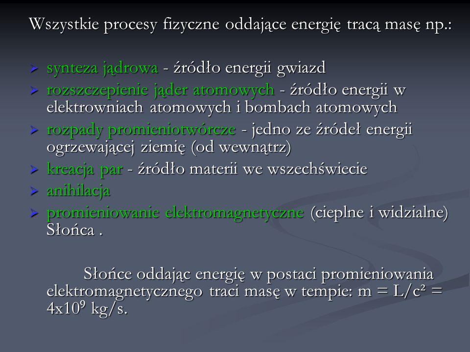 Wszystkie procesy fizyczne oddające energię tracą masę np.: