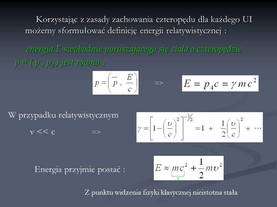 energia E swobodnie poruszającego się ciała o czteropędzie