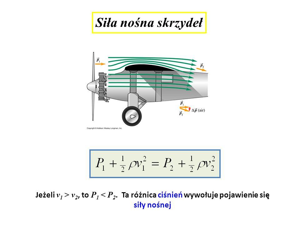 Siła nośna skrzydeł Jeżeli v1 > v2, to P1 < P2.
