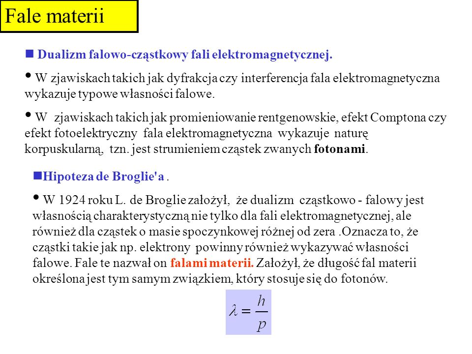 Fale materii n Dualizm falowo-cząstkowy fali elektromagnetycznej.