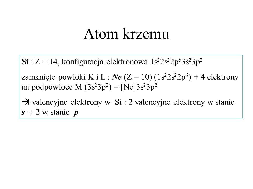 Atom krzemu Si : Z = 14, konfiguracja elektronowa 1s22s22p63s23p2