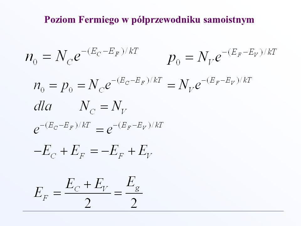 Poziom Fermiego w półprzewodniku samoistnym