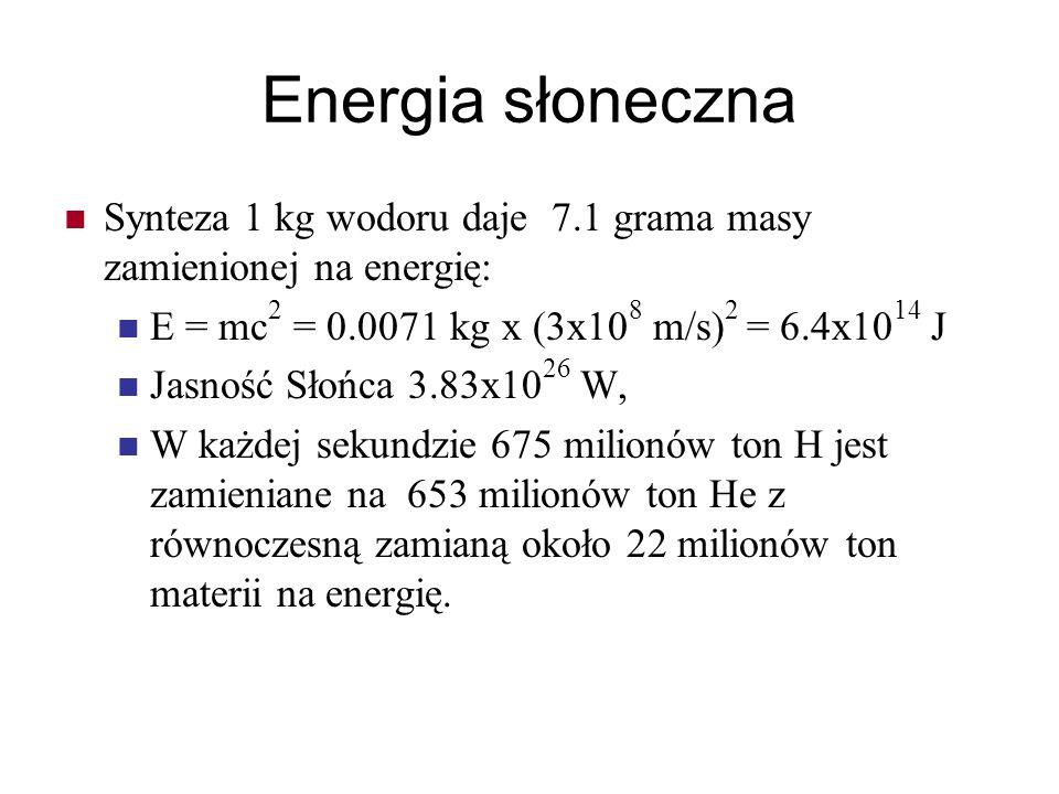Energia słoneczna Synteza 1 kg wodoru daje 7.1 grama masy zamienionej na energię: E = mc2 = 0.0071 kg x (3x108 m/s)2 = 6.4x1014 J.