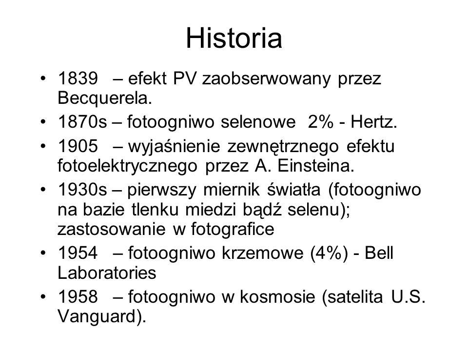 Historia 1839 – efekt PV zaobserwowany przez Becquerela.