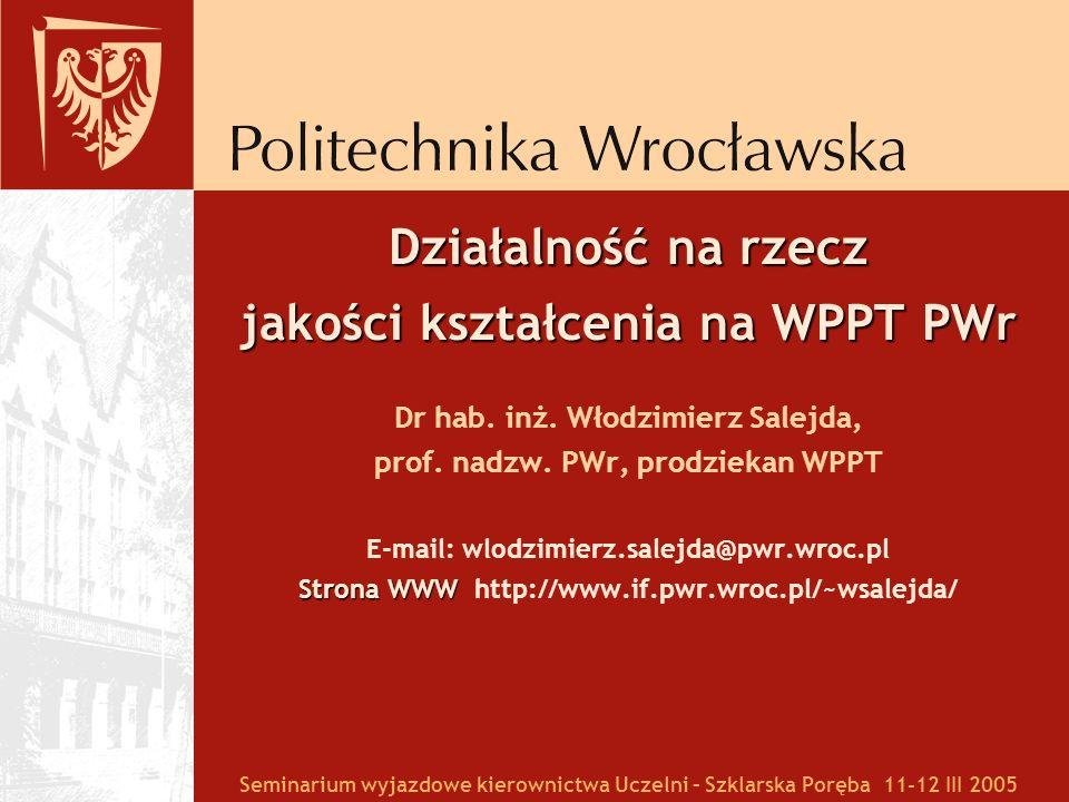 Działalność na rzecz jakości kształcenia na WPPT PWr Dr hab. inż