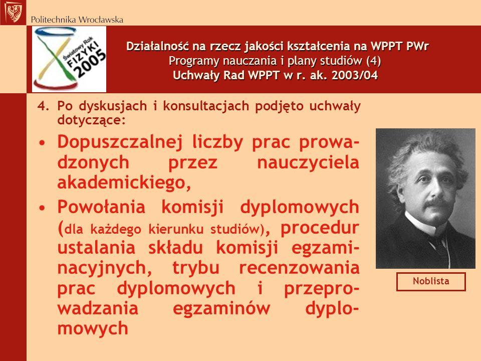 Działalność na rzecz jakości kształcenia na WPPT PWr Programy nauczania i plany studiów (4) Uchwały Rad WPPT w r. ak. 2003/04