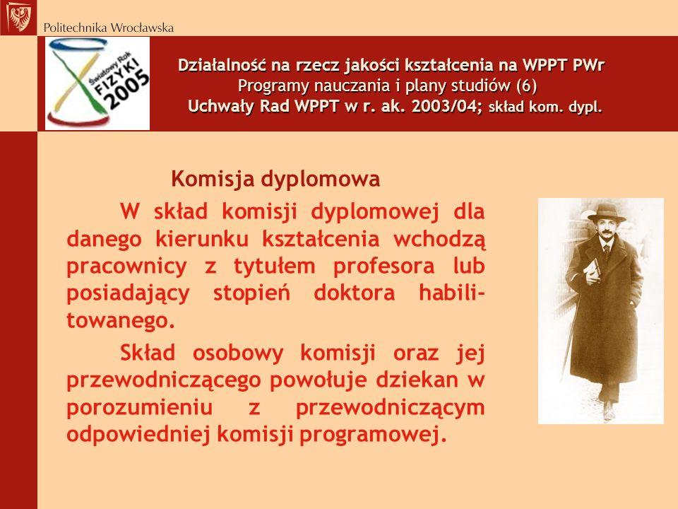 Działalność na rzecz jakości kształcenia na WPPT PWr Programy nauczania i plany studiów (6) Uchwały Rad WPPT w r. ak. 2003/04; skład kom. dypl.