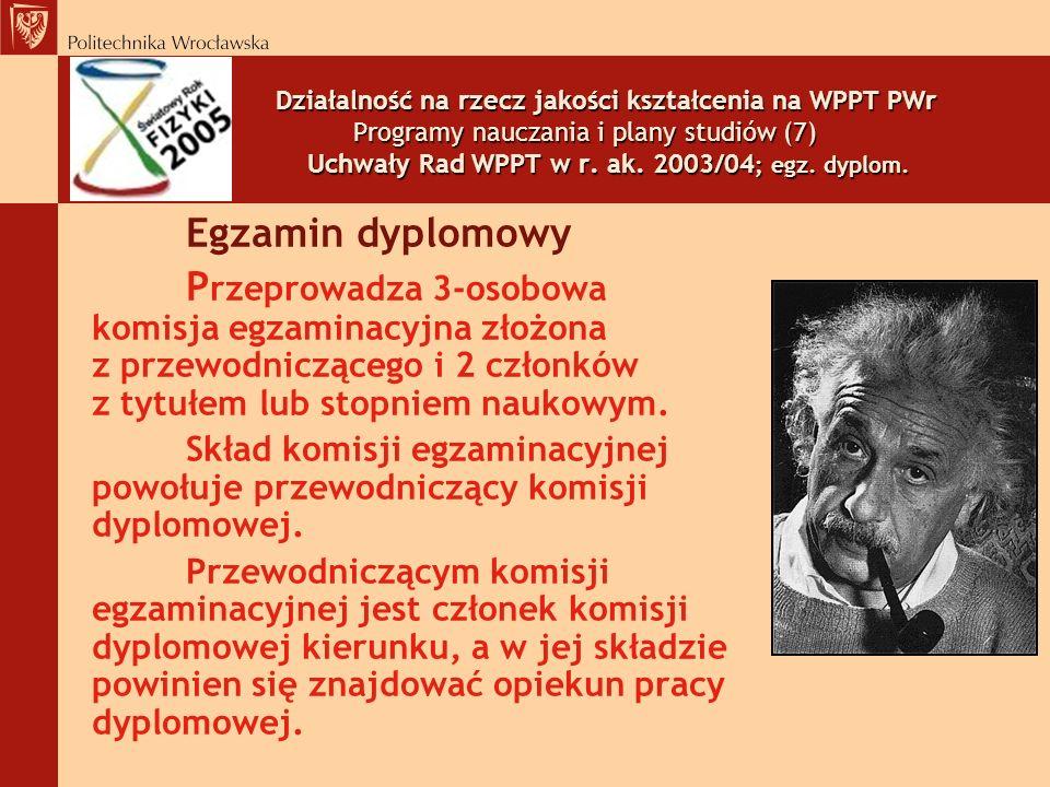 Działalność na rzecz jakości kształcenia na WPPT PWr Programy nauczania i plany studiów (7) Uchwały Rad WPPT w r. ak. 2003/04; egz. dyplom.