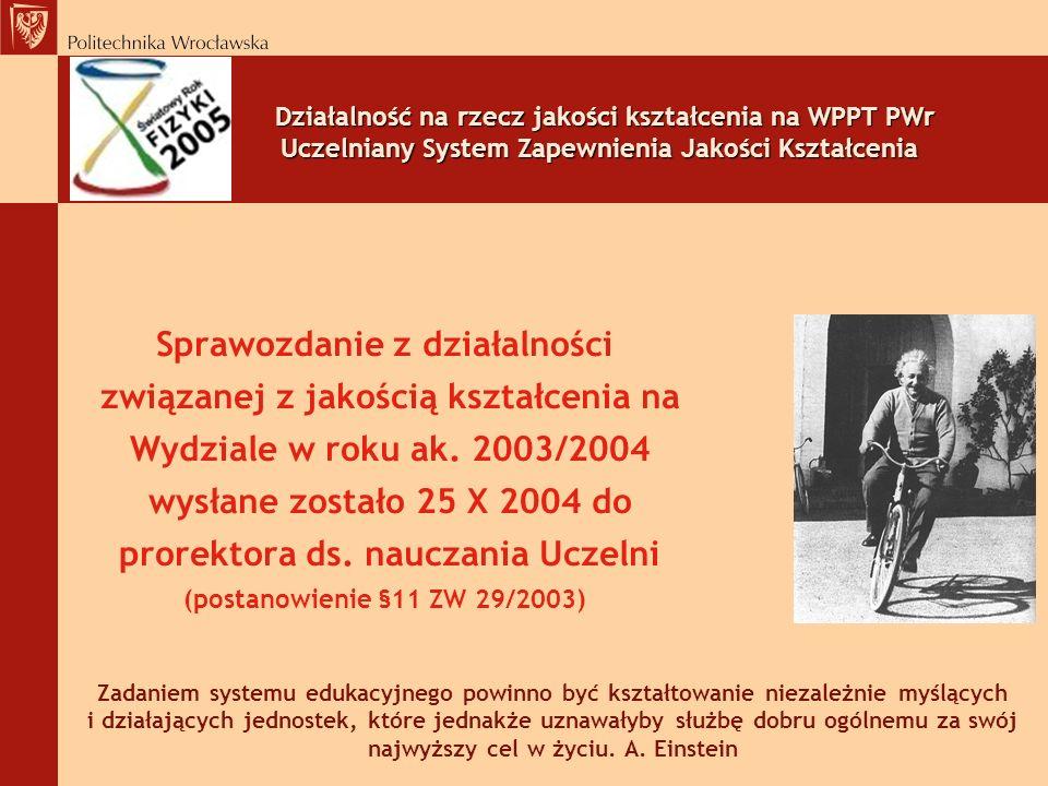 Działalność na rzecz jakości kształcenia na WPPT PWr Uczelniany System Zapewnienia Jakości Kształcenia