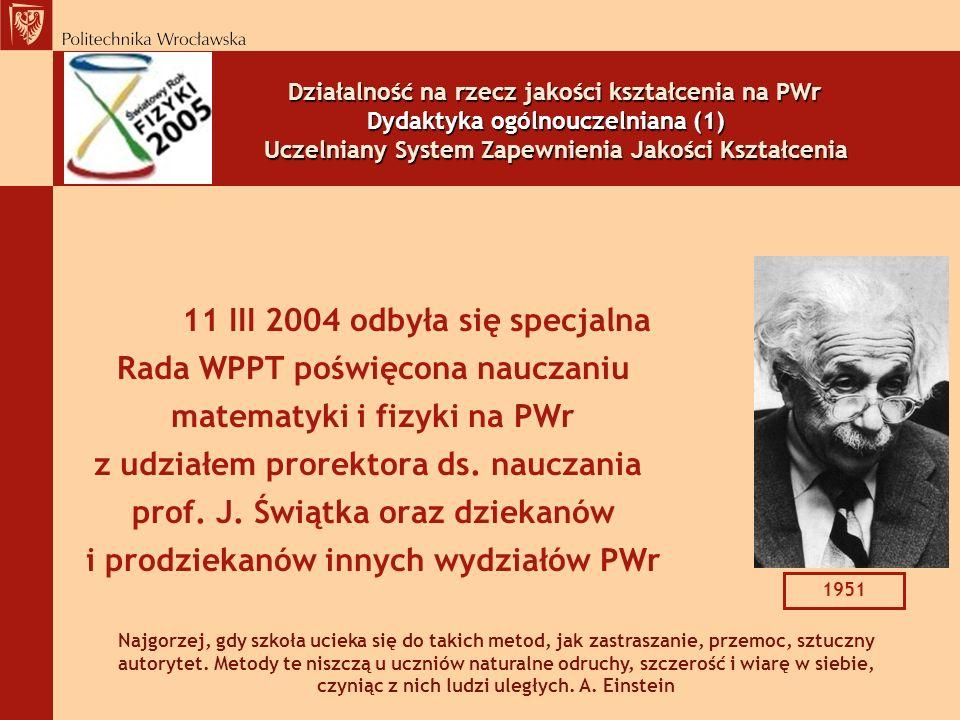 Działalność na rzecz jakości kształcenia na PWr Dydaktyka ogólnouczelniana (1) Uczelniany System Zapewnienia Jakości Kształcenia
