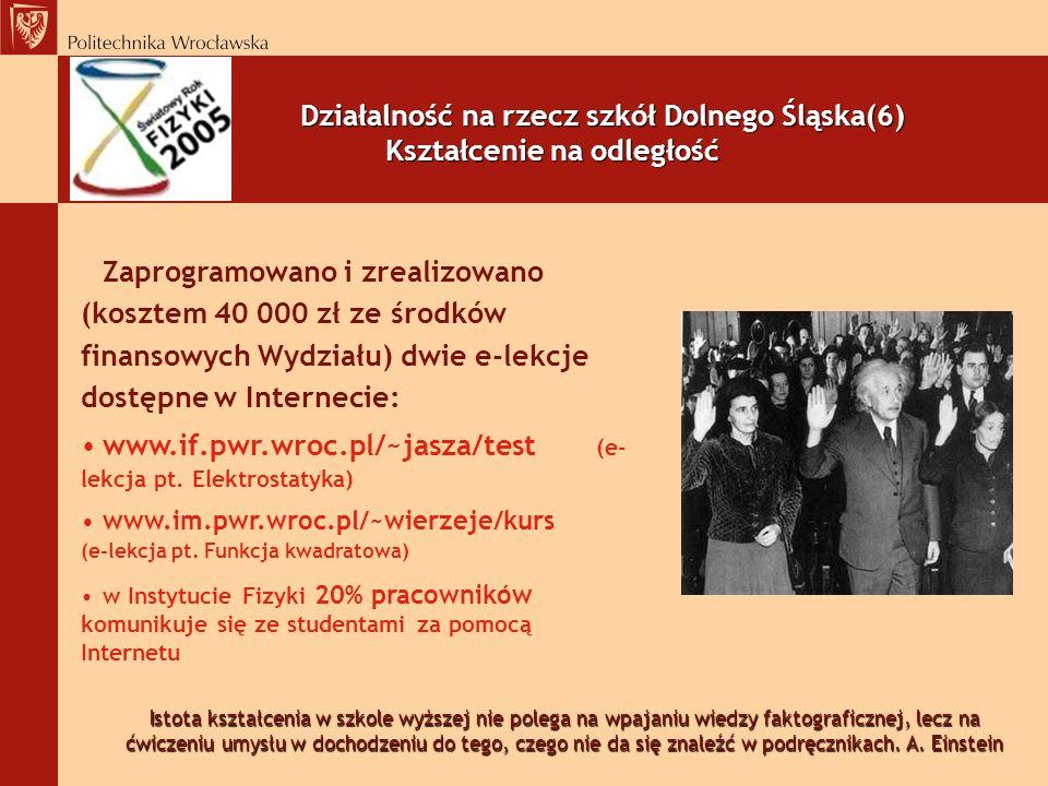 Działalność na rzecz szkół Dolnego Śląska(6) Kształcenie na odległość