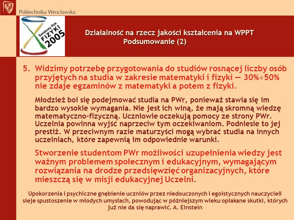Działalność na rzecz jakości kształcenia na WPPT Podsumowanie (2)