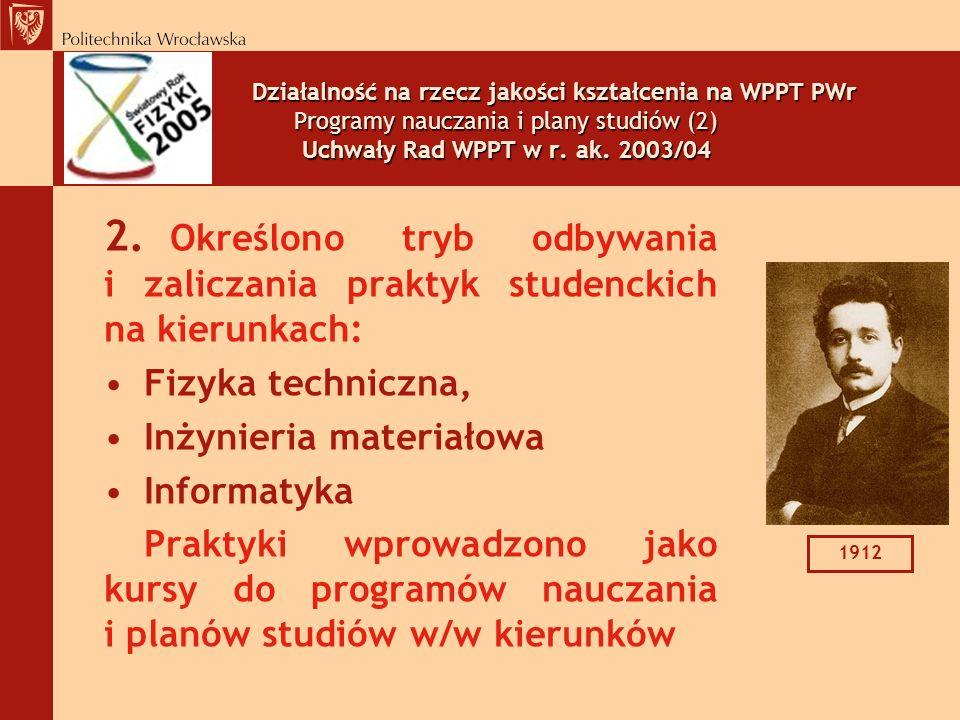 Działalność na rzecz jakości kształcenia na WPPT PWr Programy nauczania i plany studiów (2) Uchwały Rad WPPT w r. ak. 2003/04
