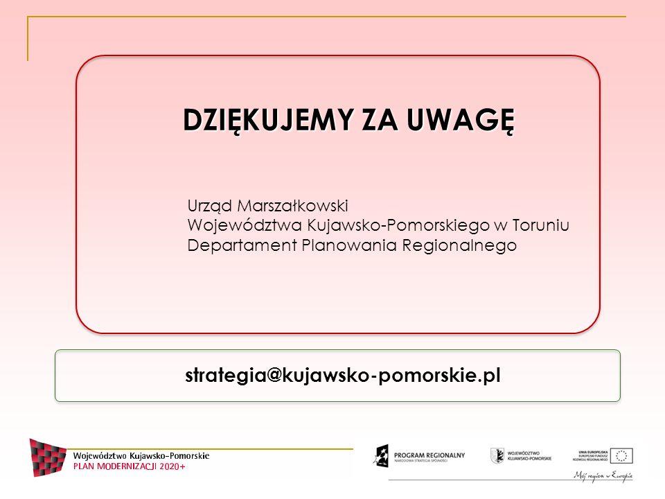 DZIĘKUJEMY ZA UWAGĘ strategia@kujawsko-pomorskie.pl