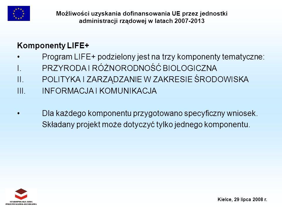Komponenty LIFE+ Program LIFE+ podzielony jest na trzy komponenty tematyczne: I. PRZYRODA I RÓŻNORODNOŚĆ BIOLOGICZNA.