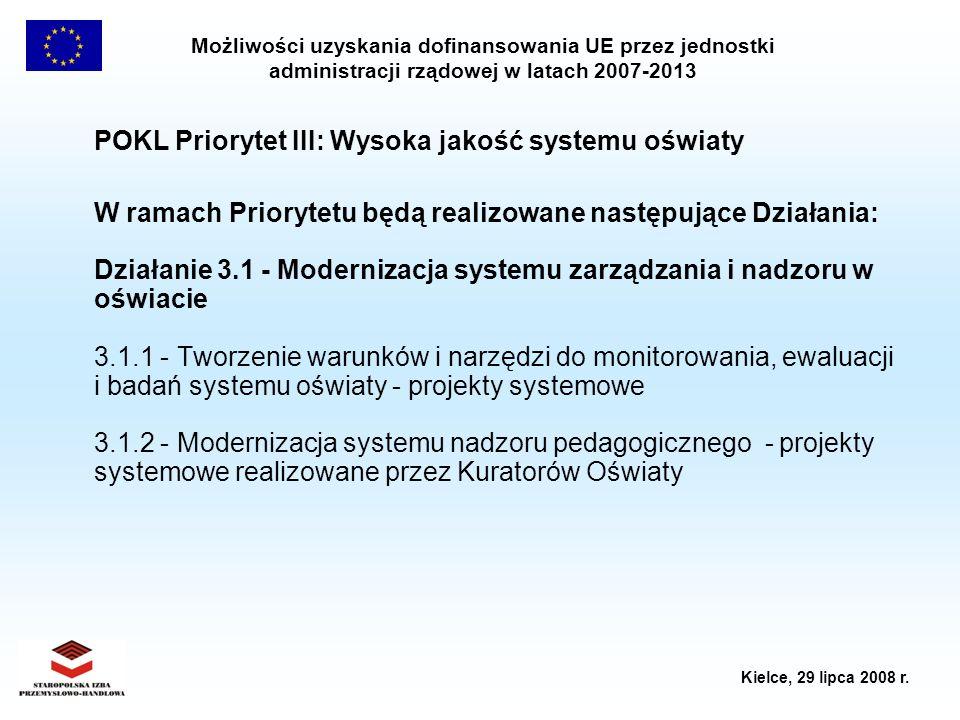 POKL Priorytet III: Wysoka jakość systemu oświaty