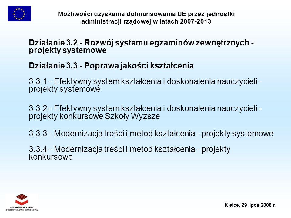 Działanie 3.2 - Rozwój systemu egzaminów zewnętrznych - projekty systemowe Działanie 3.3 - Poprawa jakości kształcenia 3.3.1 - Efektywny system kształcenia i doskonalenia nauczycieli - projekty systemowe